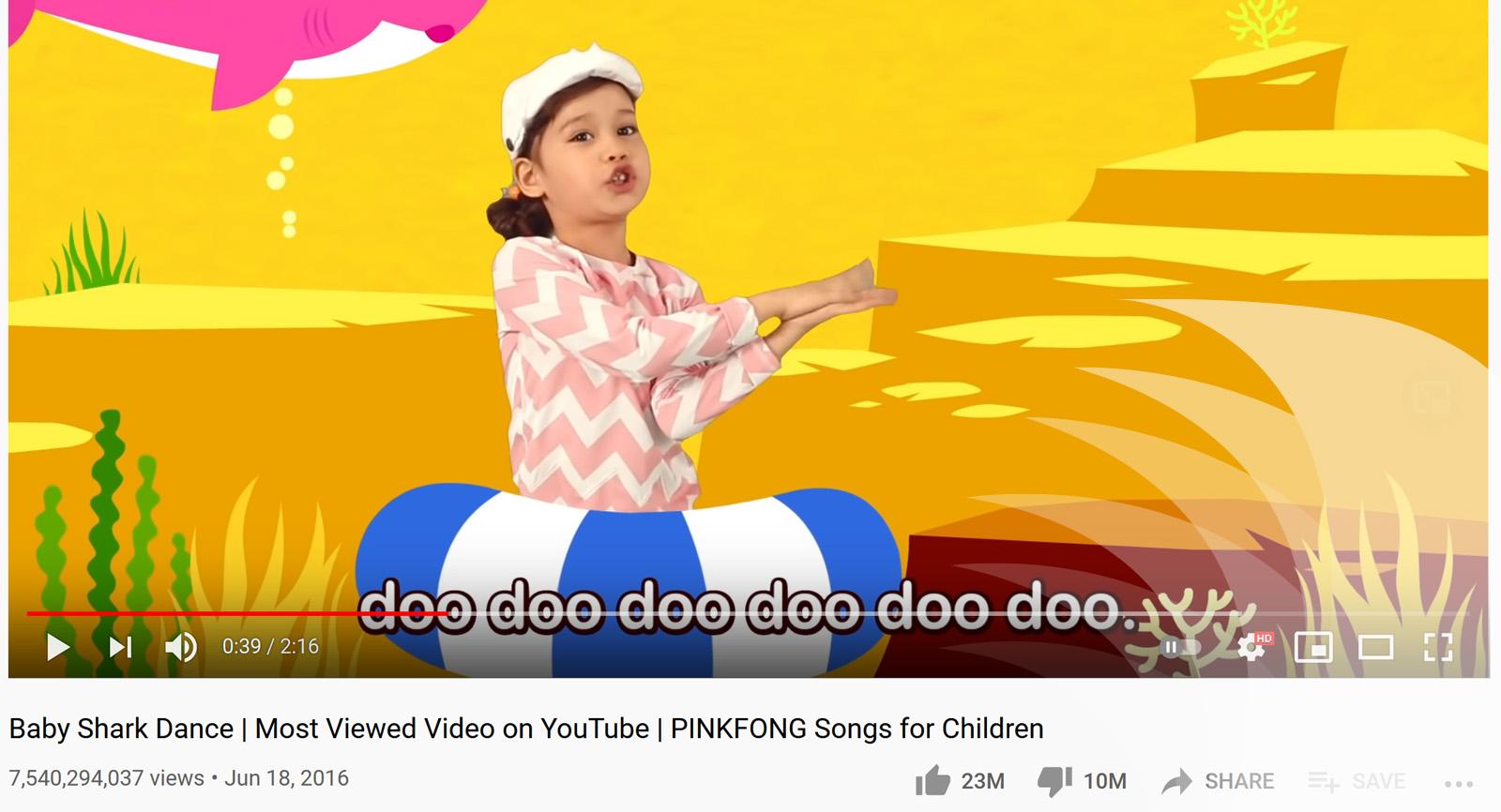 فيديو Baby Shark الأعلى مشاهدة في تاريخ يوتيوب بأكثر من 7 مليار 500 مليون مشاهدة البحرينية